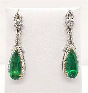 18kt white gold emerald and diamond earrings