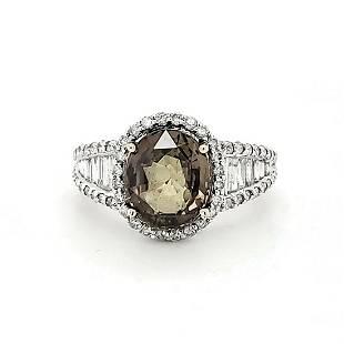 14kt white gold alexandrite and diamond ring