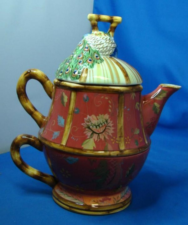 70: Tracy Porter Artesian Road Ind. Teapot & Cup - 2