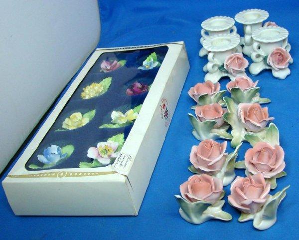 1: 16 Bone China Place Card Holders & 4 Candlehld