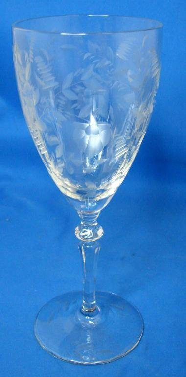 4: 6 Etched Depression Glass Wine Stems
