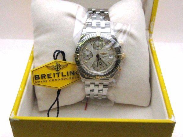 198: Man's Breitling 18kyg&stain. Chronomat watch