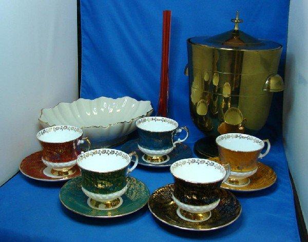1: Lenox Bowl, Brass Ice Bucket, 4 pcs, Crystal ++