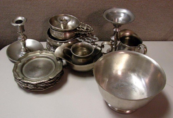 18: Lot of Pewter: plates, candlesticks, bowls, etc.