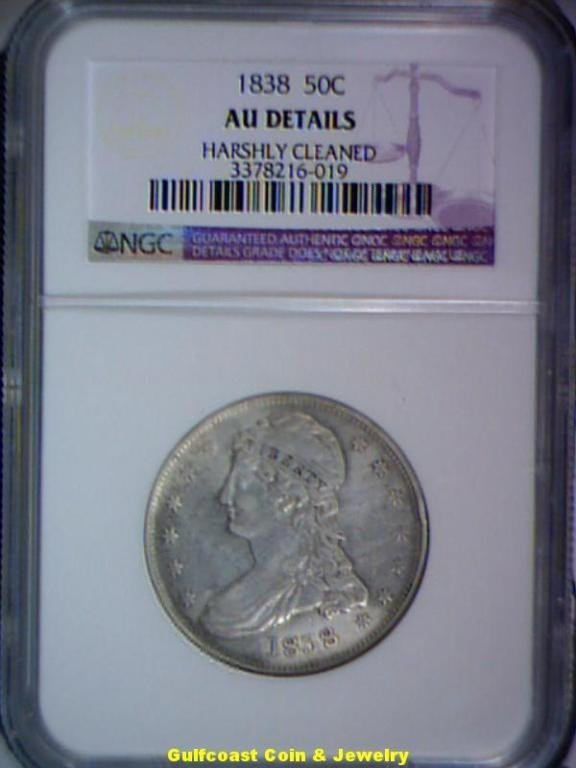 652: 1838 Bust 50c NGC AU Details Harshly Cleaned