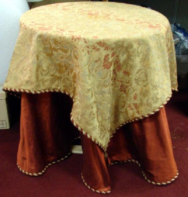 "124A: Designer 90"" Table Covering & Square Topper"
