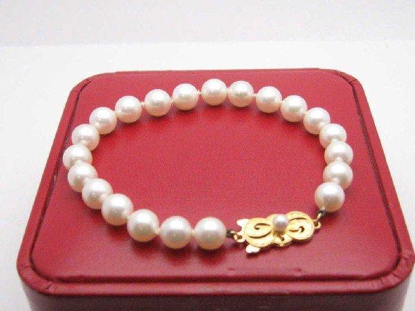 157A: Mikimotto pearl bracelet 18kyg clasp