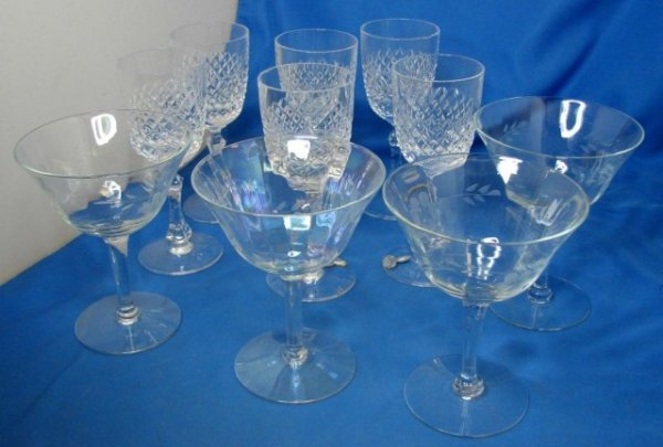 8A: 6 Crystal Sherry Glasses &  4 etched Champagne/Dess