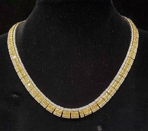 18kt white gold fancy yellow diamond necklace