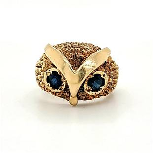 14kt yellow gold owl ring