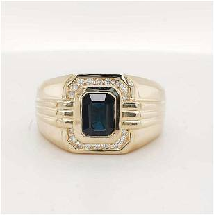 Men's 14kt yellow gold sapphire and diamond ring