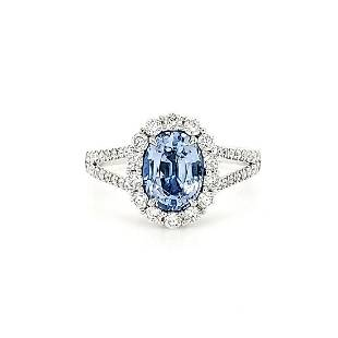 18kt white gold sapphire and diamond ring