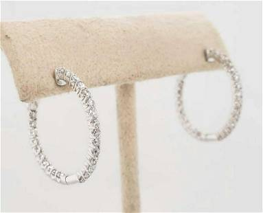 14kt white gold in and out diamond hoop earrings