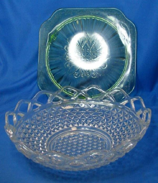 2: Green Depression Glass Plate & Clear Bowl