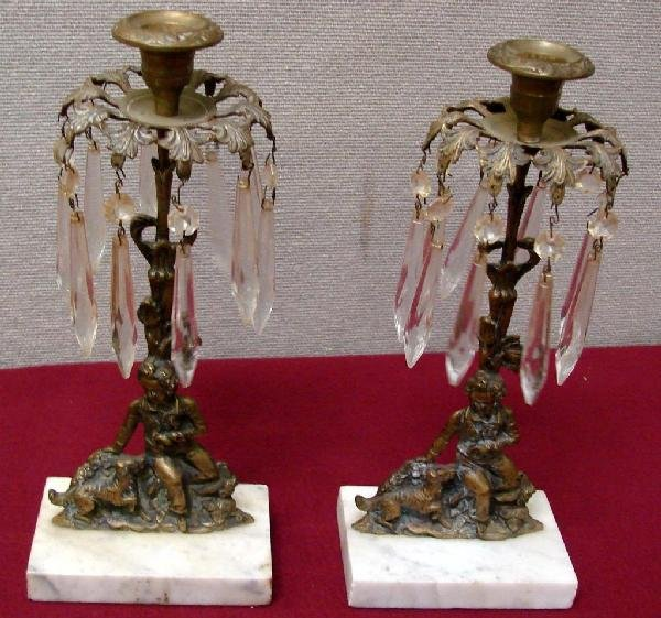 13: Pair Marble & Bronze Candleholders with Prisms