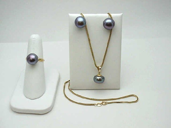 15: 14kyg Tahitian pearl ring,earrings & necklace