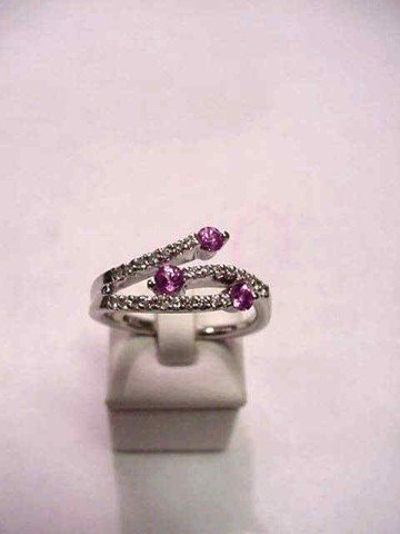 2A: 14kwg pink sapphire and diamond ring