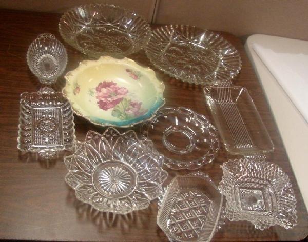 8: Vintage Assorted Pressed Glass Serving Pcs.