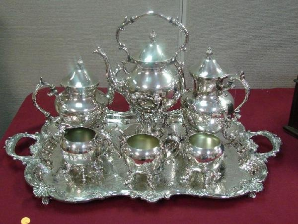 14: Silver Plate Tea Set: Tray, Coffee & Tea Pots, etc