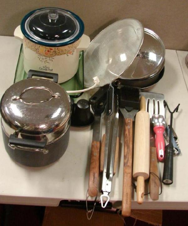 10A: Box Lot: Calphalon pots, grill tools, slow cooker,