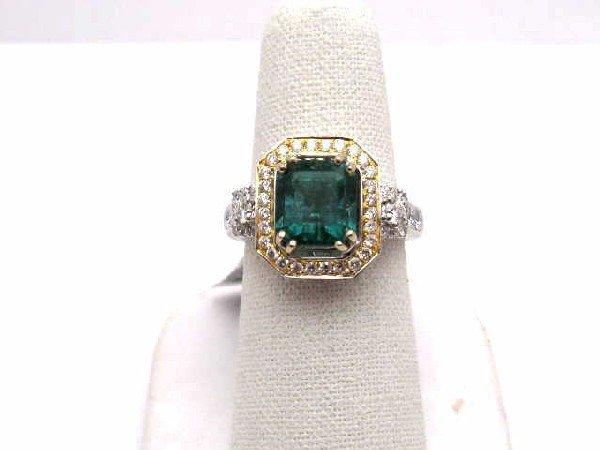 7A: 14k 2tone emerald & diamond ring 2.62ct