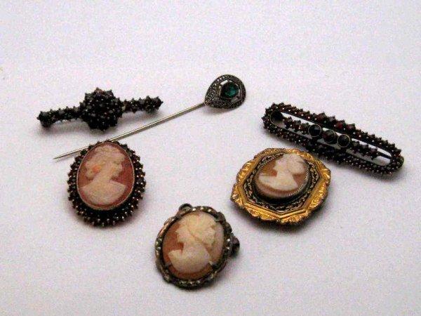 14A: Lot of vintage cameos & Garnet pins