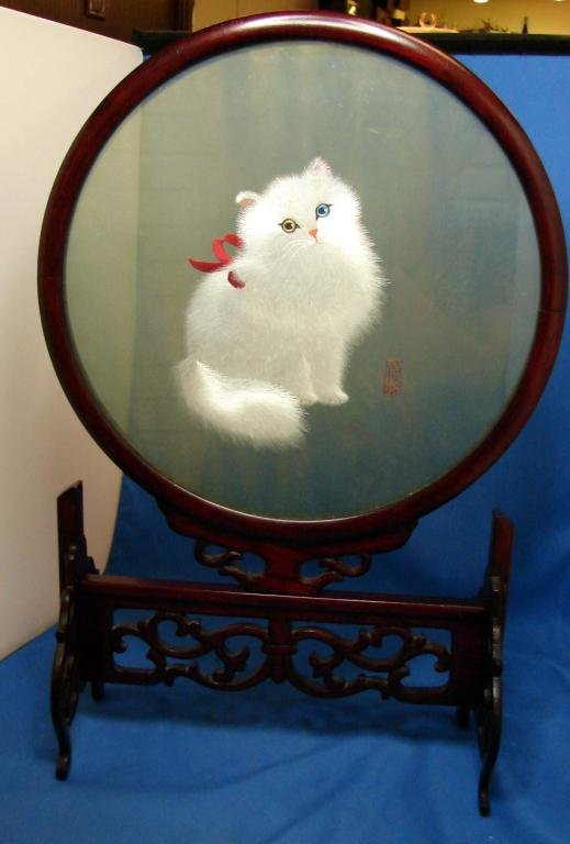 7: Himalayan Cat Set in Glass on Rosewood Stn