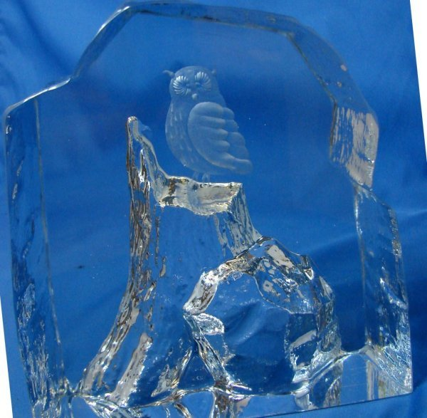 8: Heavy Signed Swedish Crystal Owl on a Mountain
