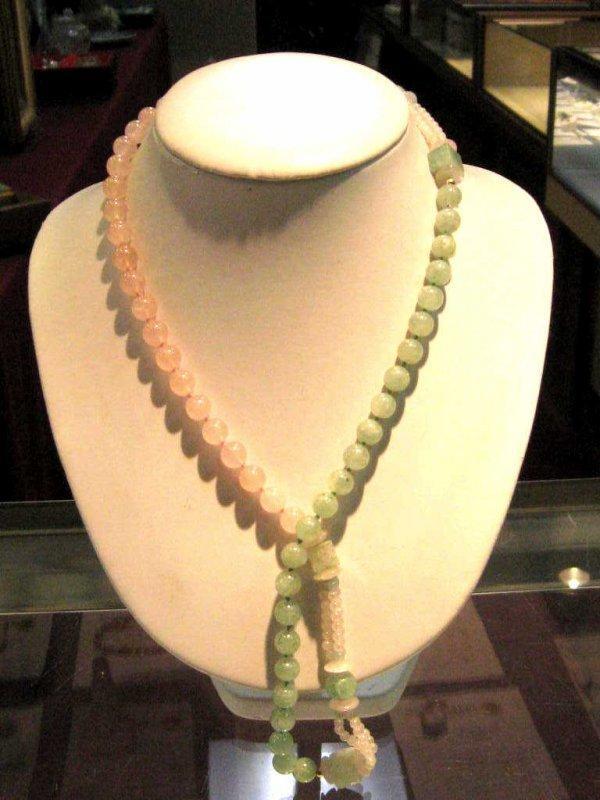 """11: 30"""" strand rose & green quartz necklace"""