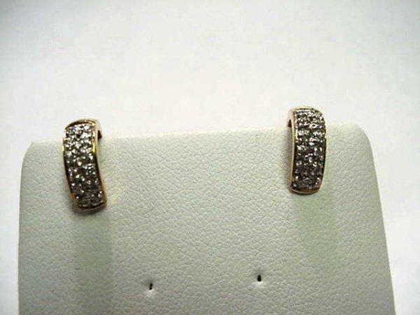 16: 14kyg pave diamond hoop earrings .25ctw