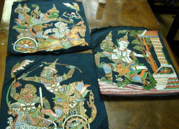 17: 3 Original Painting on Silk fr. Thailand + 1 China