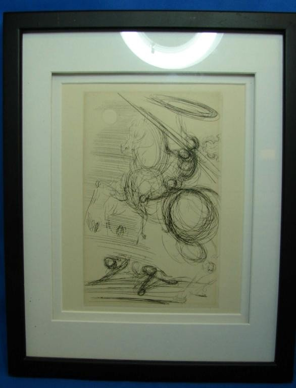 54: Original Etching by Salvador Dali of Don Quixote
