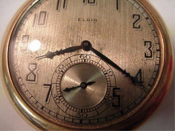 1: Elgin open faced pocket watch
