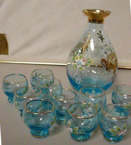1: Enameled Blue Glass Decanter & 10 glasses ++