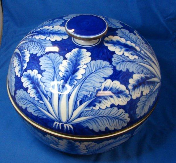 9: Vintage Flow Blue Covered Centerpiece Bowl