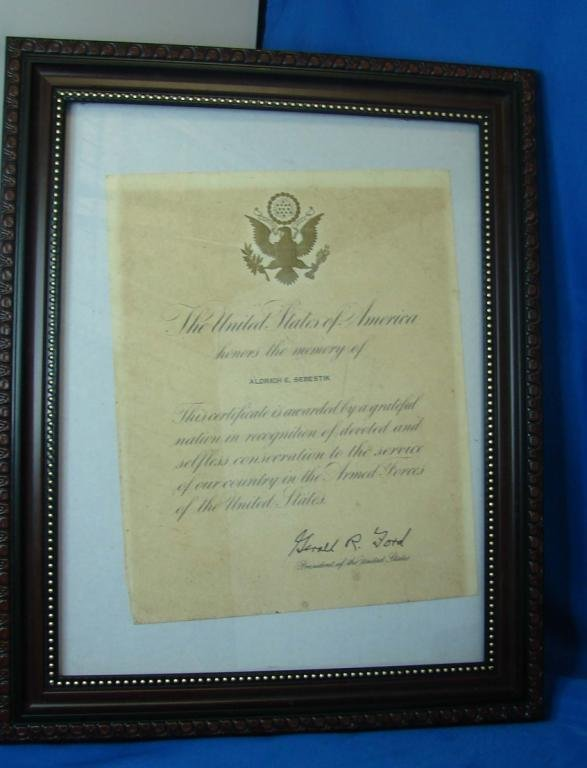 14: Commendation Document Signed by Pres. Gerald Ford
