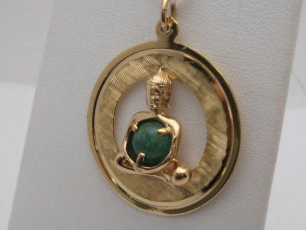 20: 14kyg Buddha pendant & jade wishbone pin