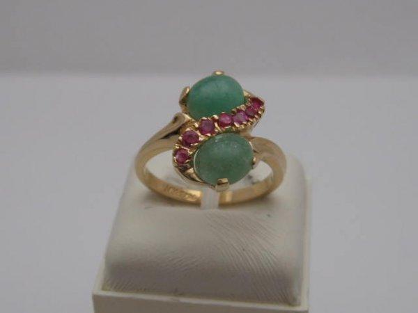 21: 14kyg jade & ruby ring