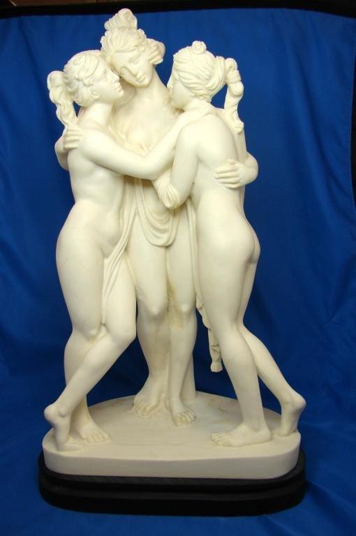 "199: A. Santini Sculpture - 3 Nudes ""Three Graces"""