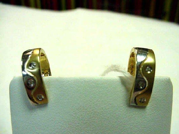 17: 14k 2tone diamond hoop earrings