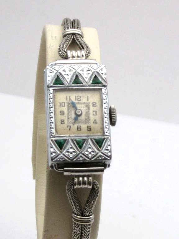 18: Vintage 14kwg Bulova  emerald watch