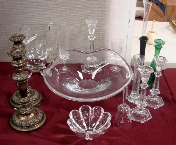 2: Lot: Vintage Candleholders, assorted crystal pcs.