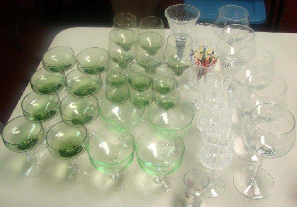 9A: 23 pcs. Green Stemware, assorted wine glasses