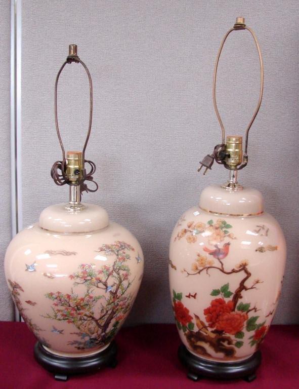 18: 2 Vintage Glass Lamps w/Asian Theme