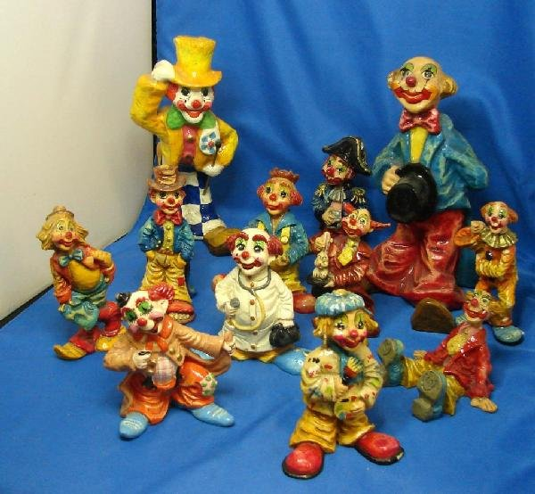 23: 12 Collectible Clowns - hand painted in Mexico