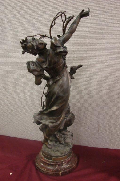 "95: Bronze Sculpture on Marble by Nelson ""L'Autumn"""
