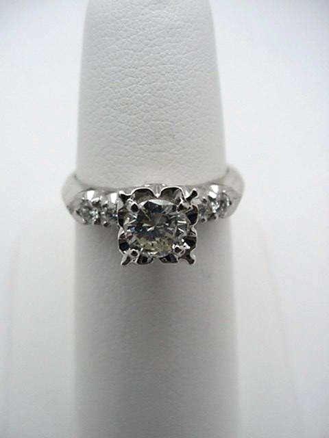 10: Vintage platinum diamond engagement ring