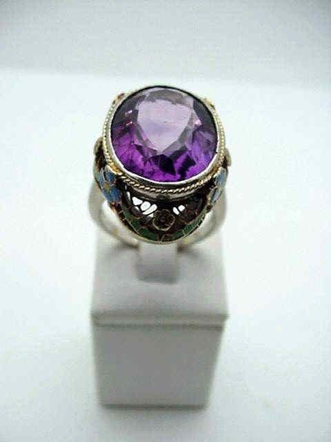 15: Lady's 14kwg amethyst enameled ring