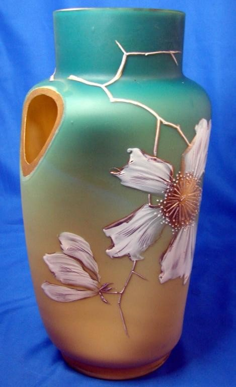 14: Vintage Webb Satin Glass Vase Decorated with whit.
