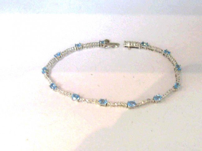 3: 14kwg aquamarine & diamond bracelet
